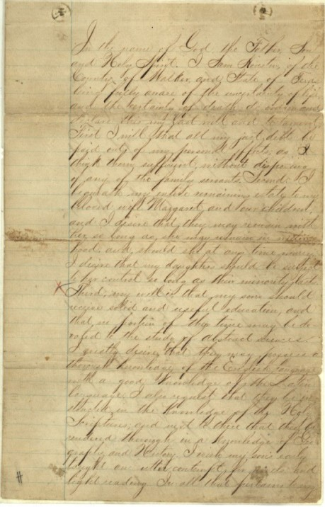 Sam houston willgw459h716 sam houstons last will testament image from texas land grant records archives and records program texas general land office austin tx probate solutioingenieria Choice Image